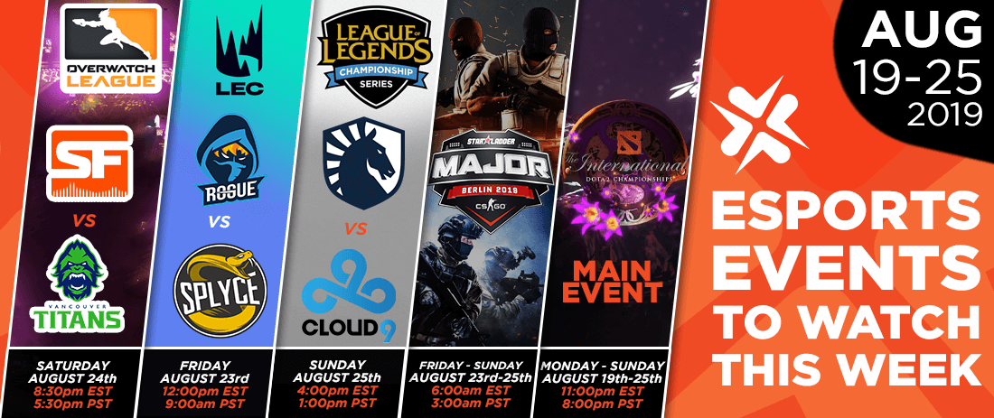 Esports Events to Watch This Week (August 19-25, 2019)