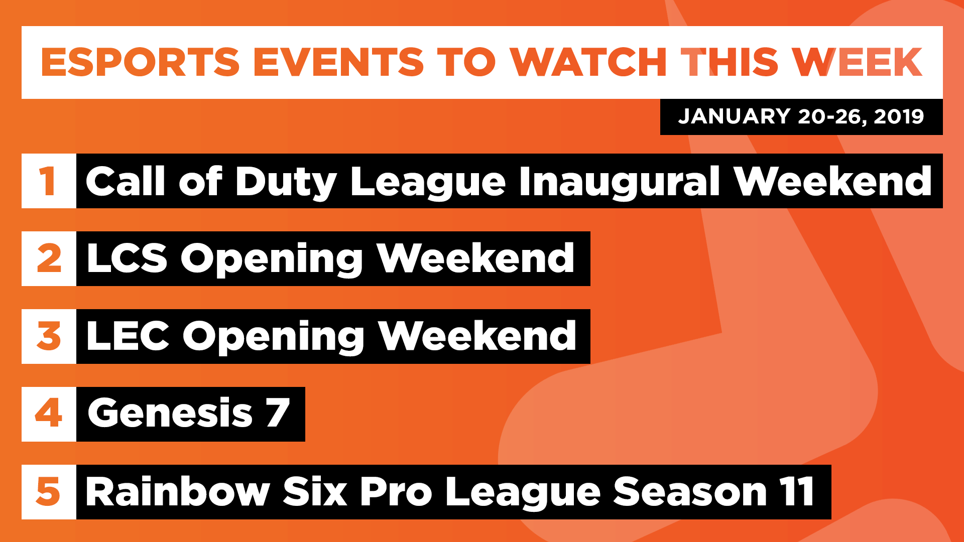 Esports Events to Watch This Week (Jan 20-26, 2020)