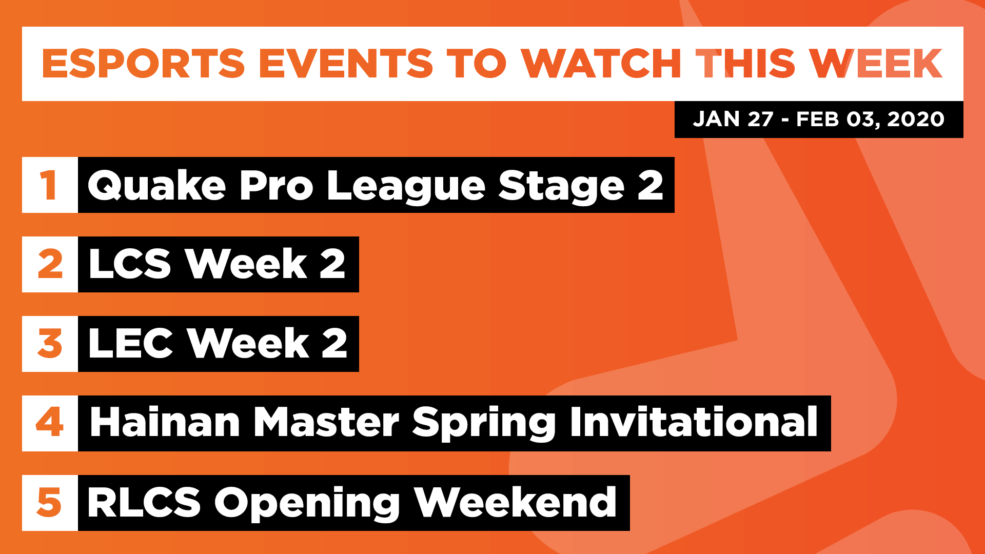 Esports Events to Watch This Week (Jan 27 – Feb 03, 2020)