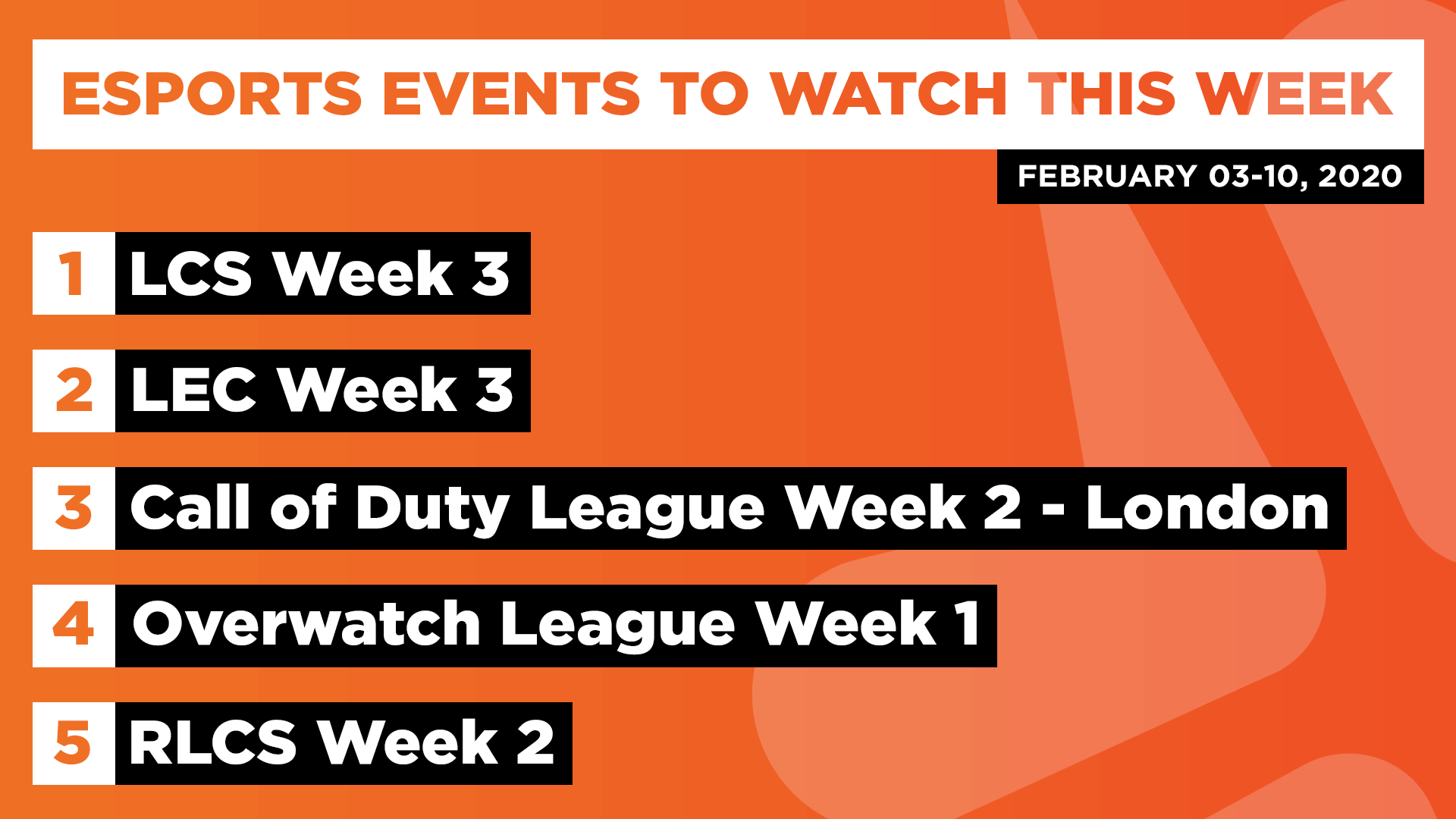 Esports Events to Watch This Week (Feb 3-10, 2020)