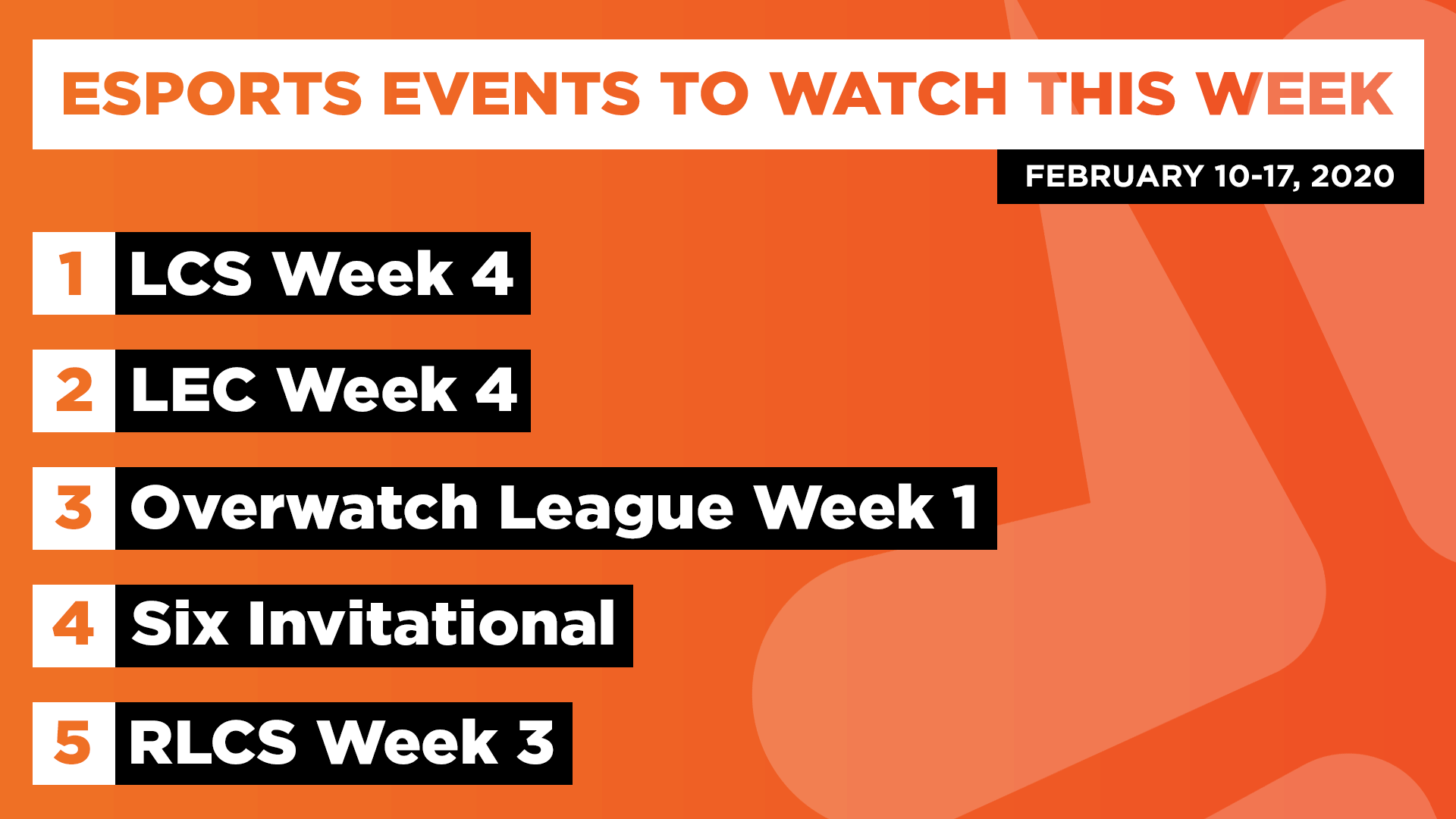 Esports Events to Watch This Week (Feb 10-17, 2020)