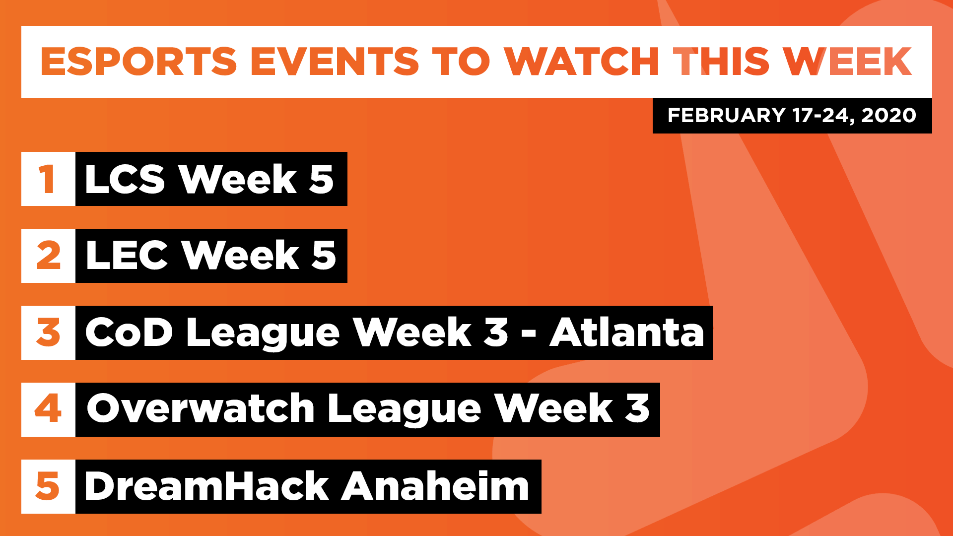 Esports Events to Watch This Week (Feb 17-24, 2020)