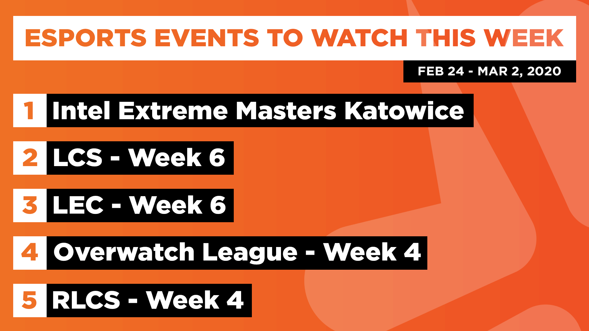 Esports Events to Watch This Week (Feb 24 – Mar 02, 2020)