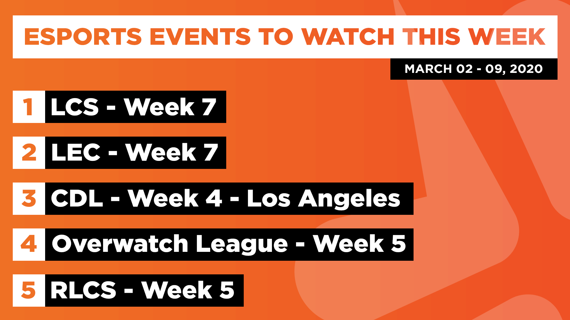 Esports Events to Watch This Week (Mar 02 – 09, 2020)
