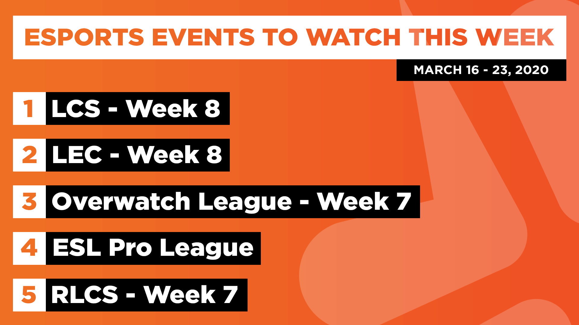 Esports Events to Watch This Week (Mar 16 – 23, 2020)